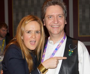 Samantha Bee of Comedy Central's Daily Show is pointing at a character from Hit Maker Tour member Gerry Mooney's show (which he sculpted himself). Nice touch.