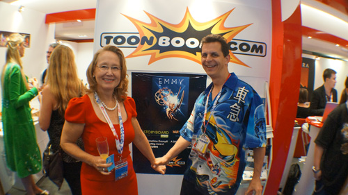 ToonBoom CEO Joan Vogelesang and Mark celebrate Emmy Award