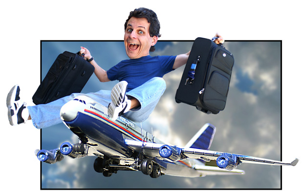 Mark Simon on his way to LA to pitch his animations.
