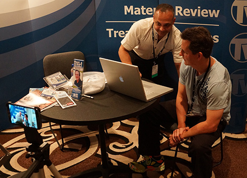 NATPE_2013_Mark_interviewed_by_Atul_Rao_for_Mohawk_College_program
