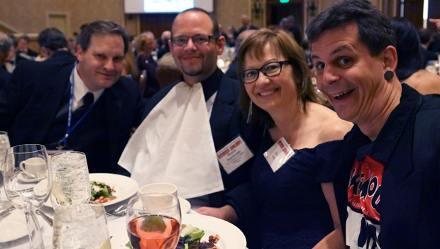 "The Reuben Award dinner. From the left, Chad Carpenter of Tundra, Mason Mastroianni of B.C., Patti Hart ofB.C. and Mark Simon of ""Im with them."""