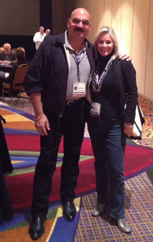 Tony and Jeanne have a brief meeting before a networking event at Realscreen Summit.