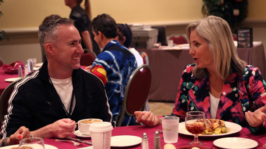 Nathan and Jeanne enjoy a lunch meeting