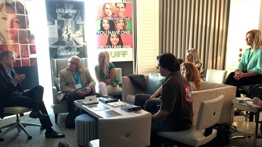 Let's jump right to the big action, or the 'Beggs' action in this case. Here's the group meeting with Kevin Beggs (left), the President of Lionsgate Entertainment, in their private suite.