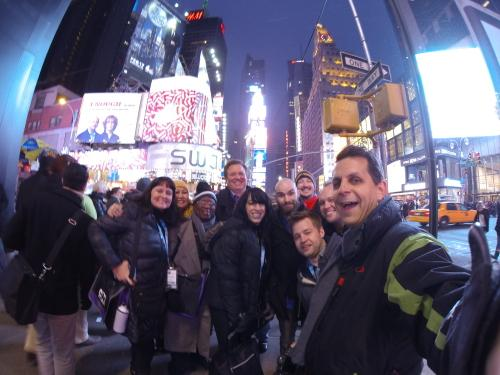 kss-mark and tour members at times square